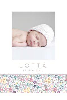 Geburtskarte Blütentraum by  Tomoë für Geburtskarten.com #babykarte #babycards #blumen