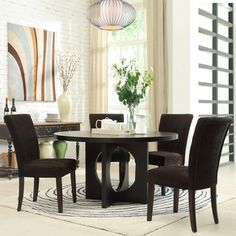 @Overstock - The Westmont 54-inch dark espresso table is today's modern table with an elegant base design. This table comes in a luxurious dark espresso finish, ensuring enchancement to the decor of any room.  http://www.overstock.com/Home-Garden/Westmont-5-piece-Chocolate-Corduroy-54-inch-Round-Dining-Set/6985411/product.html?CID=214117 $683.09