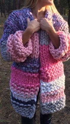 More ✿‿Woollies For Winter⁀✿ Spring, Summer Or Fall. Arm Knitting, Knitting For Kids, Knitting Designs, Knitting Projects, Love Crochet, Knit Crochet, Knitting Patterns, Crochet Patterns, Big Knits