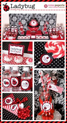 Red LadyBug Birthday Party Package Personalized MINI Collection Set  - PRINTABLE DIY - PS815CA1y. $29.00, via Etsy.