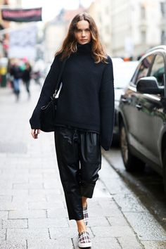 A Blogger's Cool Take On Cropped Leather Pants