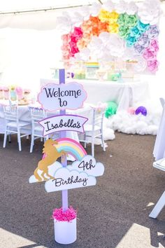 Ideas Para Tu Fiesta: Unicornios. Unicorn Theme. Party Ideas Rainbow First Birthday, Unicorn Birthday Parties, Birthday Party Themes, 5th Birthday, First Birthday Parties, Birthday Ideas, Diy Party Entrance, Party Ideas For Girls, Unicorn Balloon