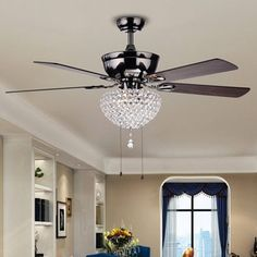 Warehouse of Tiffany Ceiling Fan Lamp Black Metal Housing Crystal Shade for sale online Bedroom Ceiling, Bedroom Lighting, Home Lighting, Pendant Lighting, Lighting Ideas, Modern Lighting, Ceiling Fan Chandelier, Ceiling Lights, Ceiling Fans