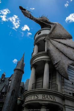 Gringots bank with the Dragon on top!
