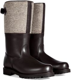 Ludwig Reiter Dark Brown/Grey Leather/Wool Maronibrater Boots $805    www.shopstyle.com