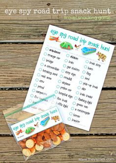Eye Spy Road Trip Snack Hunt - this fun travel game will keep them busy without electronic devices, and fill their tummies as well.