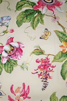 Vintage French Floral Bird Cotton Furnishings Fabric ~Blue Coral Pink Gray Brown