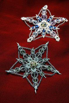 Micro-macramé snowflakes. reminds me of Mom's and grandma Lil's tatted and crocheted ones.