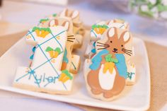 Flour De Lis Shop made the adorable Peter Rabbit cookies. Peter Rabbit Cake, Peter Rabbit Birthday, Peter Rabbit Party, Twin First Birthday, First Birthday Parties, First Birthdays, Birthday Ideas, Birthday Cake, Beatrix Potter Birthday Party