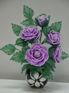 Violet roses made of beads