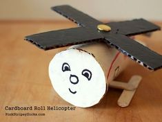 Toilet Paper Roll Helicopter Craft for children. Preschool Crafts, Fun Crafts, Arts And Crafts, Toddler Activities, Preschool Activities, Helicopter Craft, Diy For Kids, Crafts For Kids, Junk Modelling