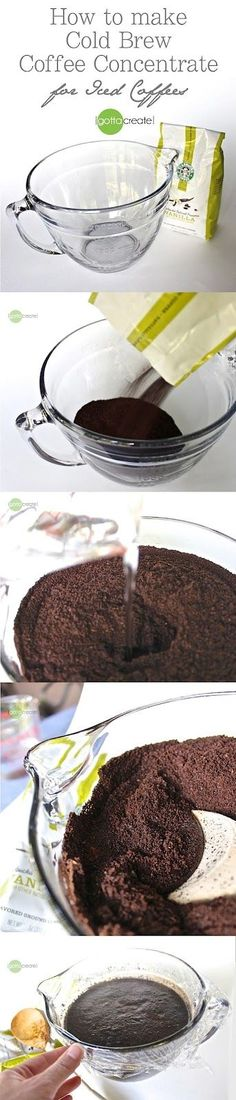 How to make cold brew coffee concentrate for iced coffees - the secret to non-bitter iced coffee! visit I Gotta Create! Coffee Cafe, Coffee Drinks, Iced Coffee, Coffee Shop, Frappuccino, Yummy Drinks, Yummy Food, Cold Brew Coffee Concentrate, Making Cold Brew Coffee