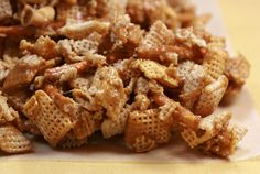 I love LOVE love this recipe. You can't just have a handful ... I usually eat the entire batch ... so be careful!   CARAMEL CHEX MIX    3/4 ...