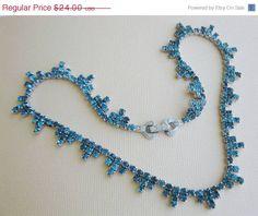 20 OFF SALE Pretty aqua rhinestone Necklace by popgoesmyvintage, $19.20