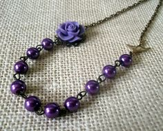 Purple Beaded Necklace, Flower Pearl Necklace, Bronze Bridal Jewelry