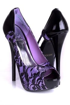 Purple And Black High Heels