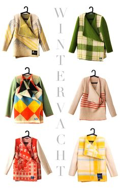 colorful blanket coats - wouldn't they be fabulous felted? Clothes Refashion, Diy Clothing, Sewing Clothes, Diy Kleidung, Diy Vetement, Blanket Coat, Mode Inspiration, Diy Fashion, Fashion Coat