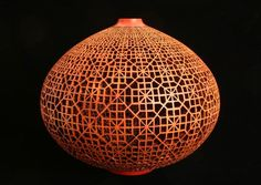 "J. Paul Fennel, Emei Lattice, 2012 African Sumac, oil finish, acrylic paint 10""h x 12""dia."