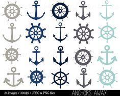 Nautical Clipart Clip Art Anchor Clipart Helm by mintprintables