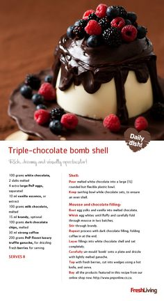End the year on an indulgent, high note - splash out with this triple-chocolate bombshell! Best Dessert Recipes, Fun Desserts, Sweet Recipes, Delicious Desserts, Yummy Food, Dessert Ideas, Chocolate Bomb, Chocolate Treats, Summer Treats