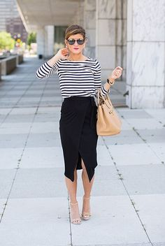 spring outfit, spring work outfit, spring office outfit, black and white outfit, casual outfit, street chic style - black stripe long sleeve t-shirt, black wrap midi skirt, nude heeled sandals, beige handbag, black mirror sunglasses