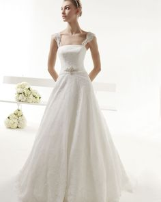 Charming A-line Straps Beading&Crystal Belt Lace Sweep/Brush Train Wedding Dresses _1