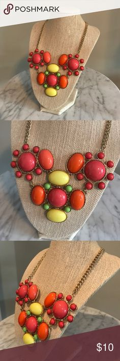 Statement necklace Statement necklace - pink, orange, yellow, green with gold chain Jewelry Necklaces