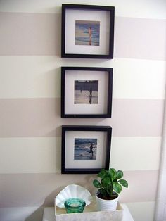 Guest Bathroom Makeover With Painted Striped Walls Small Condo Living, Paint Stripes, Wall Stripes, Beach Trip, Beach Condo, Beach Fun, Beach House, Hawaii Homes, Striped Walls