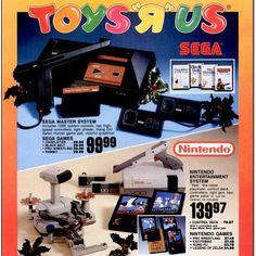 retrogaming_uk: Old Toys'r'us advert for the Sega Master System & NES & Rob #toysrus #gameboy #nintendo #newspaper #advert #nes #tetris #mario #pokemon #handheld #sega #mastersystem #retroconsole #lightgun #duckhunt #rob #legendofzelda #gameboy #microobbit