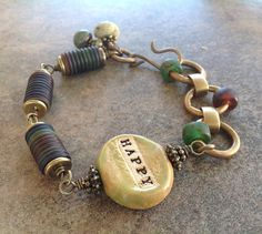 Lime Green and Blue Lampwork and Ceramic Bead Chunky Chain Boho Brass Bracelet