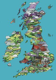 Economic activities in the British Isles. UK, Great Britain, map. Illustrated map.
