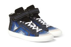 Pierre Hardy Striped Suede High Top Sneakers.