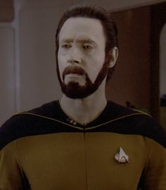 data thought it would be cool for him to grow a beard...hilarious