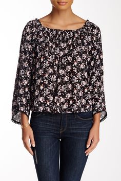 Printed Woven Bell Sleeve Blouse by Lush on @nordstrom_rack