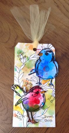 W/c birds on background using line stamps, masking fluid, w/c… Atc Cards, Bird Cards, Card Tags, Gift Tags, Handmade Tags, Paper Tags, Artist Trading Cards, Art Journal Inspiration, Art Journal Pages