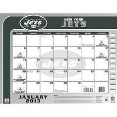 New York Jets Desk Pad: The 2013 New York Jets Desk Pad Calendar is perfect for the fan that needs to keep dates and appointments close at hand while at their home or office desk.  $13.99  http://www.calendars.com/New-York-Jets/New-York-Jets-2013-Desk-Pad/prod201300001306/?categoryId=cat00502=cat00502#