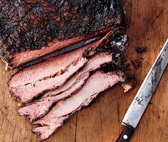 "TEXAS-STYLE SMOKED BRISKET 1 10-12-pound whole beef brisket, fat trimmed to 1/4"" thickness 1/3 cup kosher salt 1/3 cup freshly ground black pepper) Special equipment: A gas grill with a full tank of propane and a drip tray 8 cups all-natural hardwood chips, preferably hickory, for smoking A smoker box A grill or analog thermometer (we recommend it even if your grill has one)"