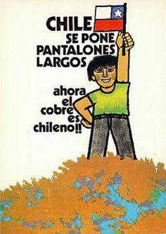 1971. Nacionalización del cobre Protest Posters, Political Posters, Political Art, Vintage Ads, Vintage Posters, Victor Jara, Chili, Francis Bacon, Latin America