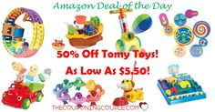 WOW! What a deal of the day! You can save up to 50% off Tomy Toys! Prices as low as $5.50! There are some great toys included! Be sure to check out the bath toys!  Click the link below to get all of the details ► http://www.thecouponingcouple.com/tomy-toys-up-to-50-off-as-low-as-5-50/ #Coupons #Couponing #CouponCommunity  Visit us at http://www.thecouponingcouple.com for more great posts!