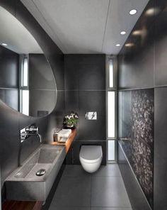 Muito luxo nesse banheiro cinza! (Foto: blog Construindo Minha Casa)