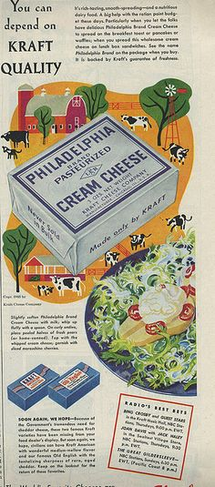 Illustrated vintage Philadelphia Cream Cheese ad. For the love of God, what do you keep doing to those poor pears!?