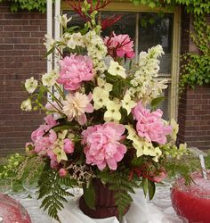 Peony and Dogwood Arrangement