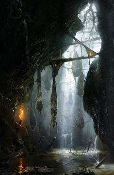Tomb Raider concept art by Brenoch Adams Environment Concept Art, Environment Design, Environment Painting, Fantasy Concept Art, Dark Fantasy, Fantasy Places, Fantasy World, Art Et Illustration, Fantasy Setting