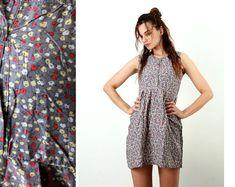 Floral Cotton Dress / Sun Dress / Day Dress / Summer Dress / Mini Dress / Flirty Dress / Gray / Sleeveless Dress / Simple Dress / Size S