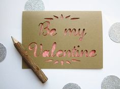 Be My Valentine  Paper Cut Greeting Card  pink by AshleyPahl, $7.00