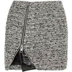 Bouchra Jarrar Wool-blend tweed and faux patent-leather mini skirt (20.860 RUB) ❤ liked on Polyvore featuring skirts, mini skirts, bottoms, saias, grey, zipper mini skirt, grey tweed skirt, grey skirt, gray tweed skirt and short tweed skirt