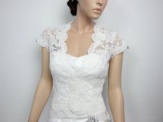 Ivory Front open Alencon Lace bolero jacket Bridal by alexbridal, $129.99