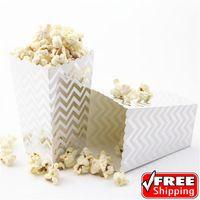 36 stücke Metallic Silber Folie Chevron Personalisierte Popcorn Boxen-Hochzeit Geburtstag Party-Papier Süßigkeiten Favor Treat Snack Geschenk Box, Tassen