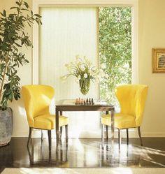 Hunter Douglas - Honeycomb Shades w/ Vertiglide design option Honeycomb Shades, Kb Homes, Hunter Douglas, Window Styles, Sliding Glass Door, Indoor Plants, Window Treatments, Blinds, Dining Chairs