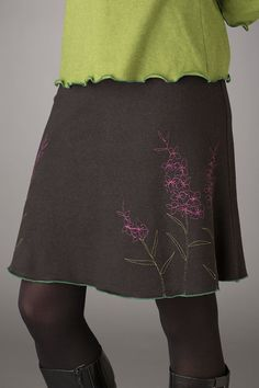 Black Obsidian Skirt with Fireweed Embroidery, eco fashion